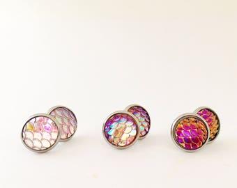 Mermaid scale stud earrings, 10mm stud earrings, pinks