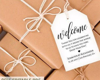 Gift Tags, Welcome tags template, favor bag tags, wedding template ...