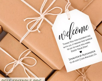 Wedding Gift Bag Tags Template : Gift Tags, Welcome tags template, favor bag tags, wedding template ...