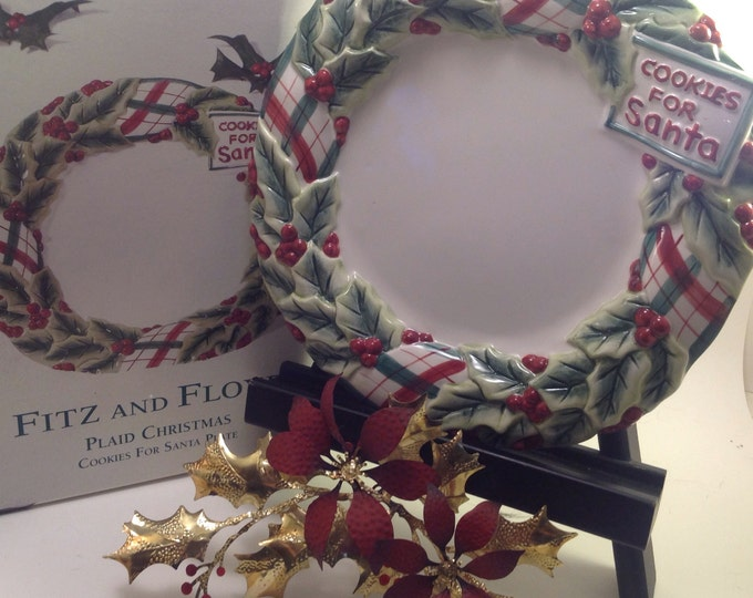 Featured listing image: Fitz and Floyd Cookies for Santa Plate Plaid Christmas collection wreath and holly design original box