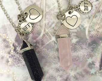 2 Crystal Best Friends BFF Necklaces/ Pair of Best Friends Heart Necklaces/ Best Friends Forever/ Crystal Friends Necklaces Pick Crystal