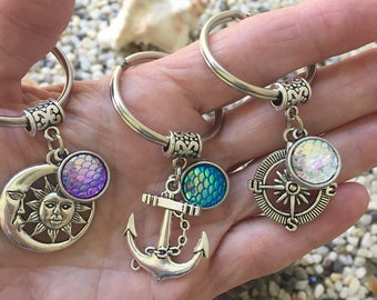 Mermaid Scales Keychain/Compass Mermaid Key Chain/ Anchor Nautical Keyring/ Celestial Sun Moon/ Mermaid Aura Scales Charm
