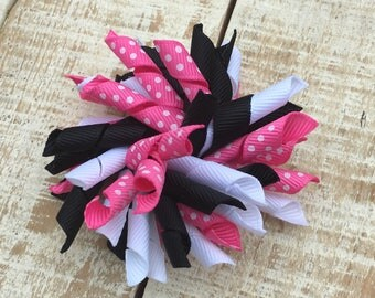 Minnie Mouse inspired Korker Bow - Korker hairbows - Pink polka dot Bows
