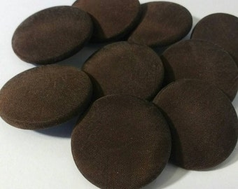 """Dark Brown Buttons, Large Fabric Covered Coat buttons 1.25"""" shank buttons Set of 8"""