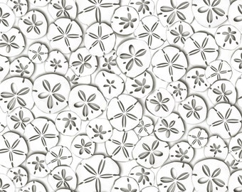 Sand Dollars, Sea Shells Allover, Charcoal on White, Kanvas for Benartex (By 1/2 yd)