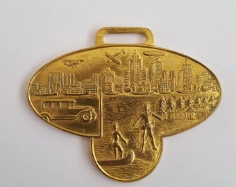 Reserved for John KnappVintage watch fob by S.D. Childs & Co. Of Chicago,  Detroit Skyline, Cadillac's landing at Detroit