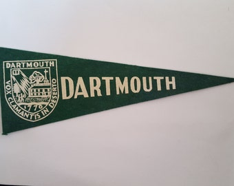 "Vintage Hormel Meats promotional wool felt mini pennant Dartmouth College 9.5"" x 3.5"", 1950's"