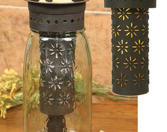 Punched Pinwheel Quart mason jar wax warmer/ includes 1 free brick melt