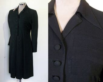 "Dashing 1940s rayon crepe tailored dress w/pintuck panels bust 38"" WW2"