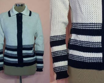 """Cool early 1960s striped cardigan w/collar bust 34"""" NOS unworn!"""