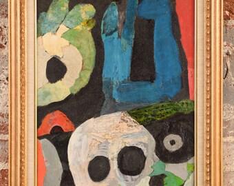 John I. Kjagaard - Abstract Heads - Original Painting acrylic on board