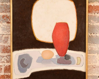 Antonio Guance - Abstract Still life -Original  1972 Oil Painting -Modernism