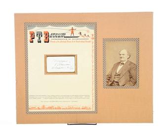 P. T. Barnum Original Autograph w/ Letterhead And Photo - circa 1880s