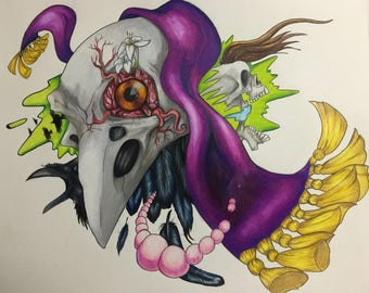 Raven Skull Drawing - Colored Pencil and Micron marker