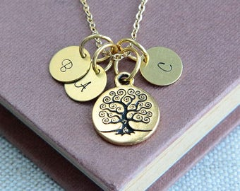 Mother Necklace, Family Tree Necklace, Tree of Life Necklace, Personalized Necklace, Tree of life jewelry, Birthstone gift, Monogram Jewelry