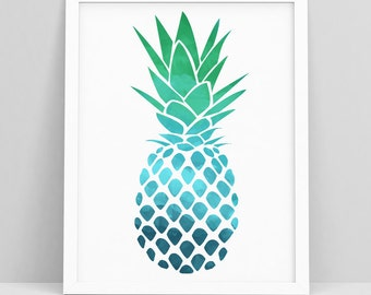 Pineapple Decor - Pineapple Wall Print - Pineapple Wall Art - Pineapple Printable - Tropical Print - Pineapple - Pineapple Art Tropical Art