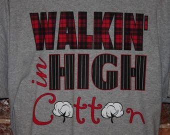 WALKIN' in HIGH COTTON Plaid Pinstripe Cotton Bolls Heather Grey Gray T Shirt Tshirt Tee