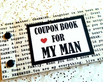 LOVE Mini Coupon Book for Husband Boyfriend. Anniversary Birthday Deployment Personalized gift. Sentimental Marriage Wedding Engagement.