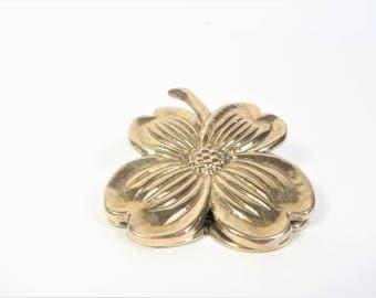 Vintage Brass Dogwood Flower Clip - Brass Dogwood Blossom Paper Clip