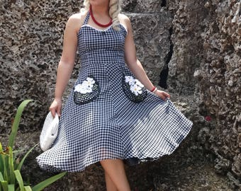 Gingham Daisy Full Swing Dress