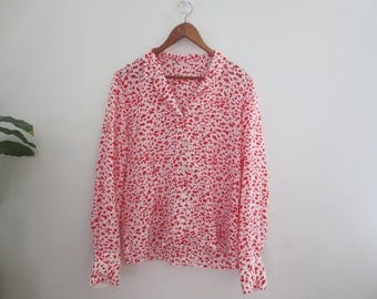 80s red/white leopard print shirt