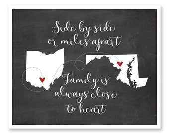 Long Distance Family, Gift For Family, Family Print, Personalized Family, Family Sign, Gift for Parents, Gift for Grandparents