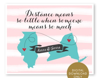 DIGITAL DOWNLOAD, Long Distance Map Printable, Best Friends Map, Long Distance Hometowns, Birthday Gift for Best Friend, Sisters, Cousins