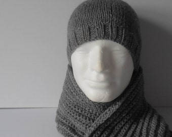 Men's Hat and Scarf Set. Gray Hat and Scarf.  Scarf and Hat Set. Men's Beanie Hat. Long Gray Scarf . Gift for Him.  Father's Day.