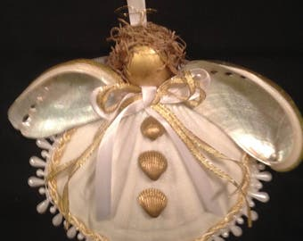 Shell Ornament - Scallop Shell Angel - Sea Shell Ornament - Shell Angel Ornament - FREE SHIPPING