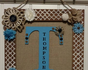 15x15 wood and burlap wall decor - Customized