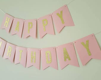 Happy Birthday Banner Pink and gold