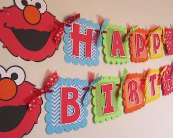 Elmo Birthday Party - Happy Birthday Banner