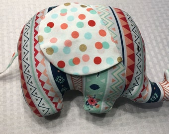 SALE!!! Mint and Coral Stuffed Elephant