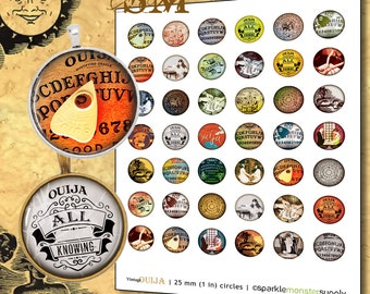 """Vintage Ouija 25mm 1"""" Image Sheet - circles, digital download, printable elements for jewelry, hair bows, and more"""