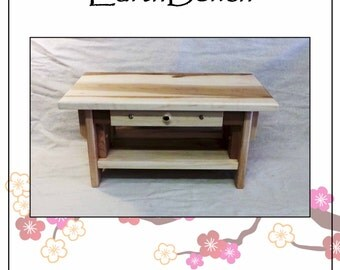"""20""""×11"""" w/ DRAWER. Solid MAPLE Hardwood  w/ Beeswax Finish. Personal Altar w/ Shelf + Small Incense Drawer. 'Character Maple'"""