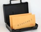 Secret Agent Spy kit with 2 Top Secret Missions -- mystery party, spy pary favor, secret agent birthday
