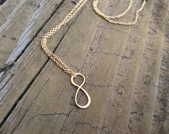 Infinity Necklace, Gold Filled Infinity Sterling Silver Infinity Forever Necklace, Gift of Love, Minimalist Jewelry