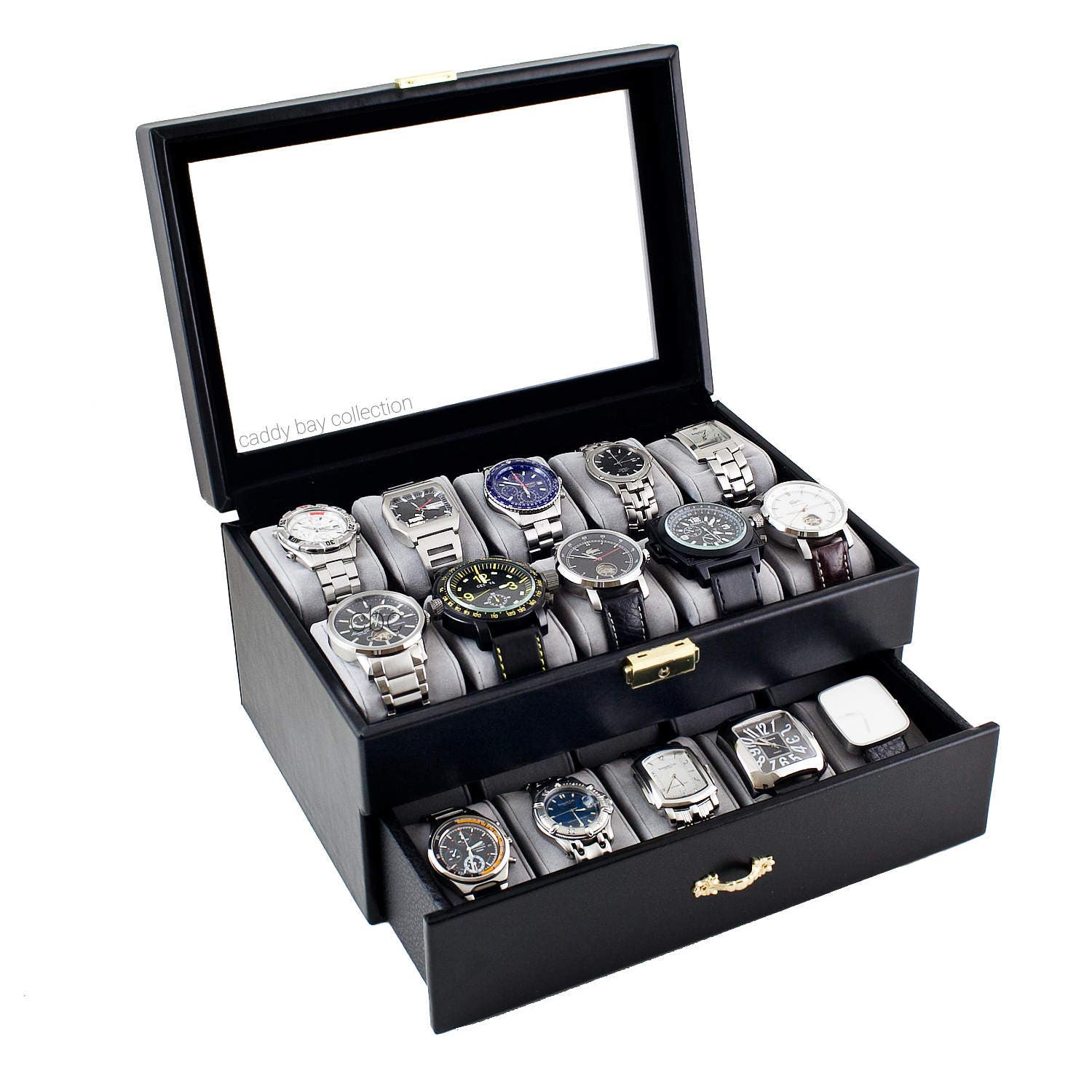Personalized black watch box holds 20 watches men 39 s for Watches box
