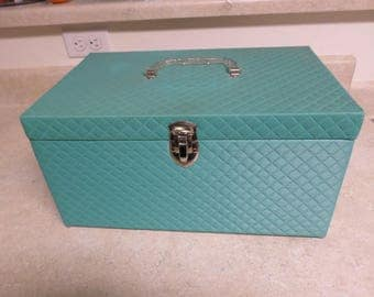 Vintage 1950's Sewing Box Quilted Teal Plastic