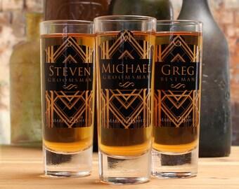 Art Deco Wedding, Personalized Shot Glasses for Groomsmen, Groomsmen Gifts