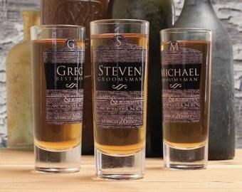 Custom Shot Glasses, Set of 7, Personalized Groomsmen Gifts