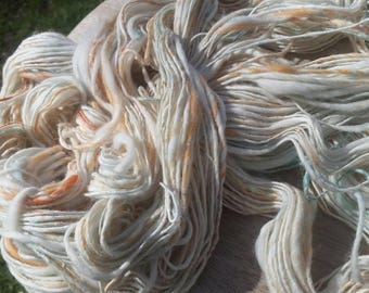 Hand sheared, hand processed, hand dyed, hand spun Merino and silk single ply thick and thin yarn 61 yards
