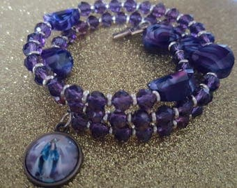 Purple wrap around rosary bracelet with Vintage Our Lady of Grace charm