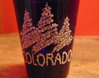 Vintage Cobalt Blue Colorado Shot Glass