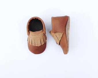 loafers / baby moccasin mocks / soft soled shoes / caramel brown