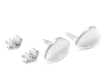 Plain Silver earrings frosted and rhodium-plated