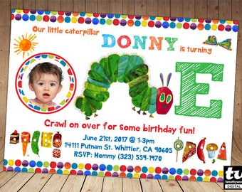 Very Hungry Caterpillar Birthday Invitation - ONLY for age 1