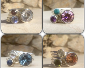 Gemstone Stacking Rings, Made to Order, Mothers Rings, Gemstone Set of Silver Stacking Rings, Birthstone Rings