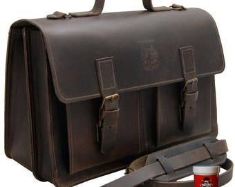 17.3 inch Laptop bag - Briefcase NEWTON made of brown leather - Made in Germany