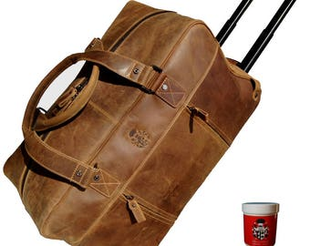 Trolley-weekender MERLIN made of brown grassland leather - BARON of MALTZAHN